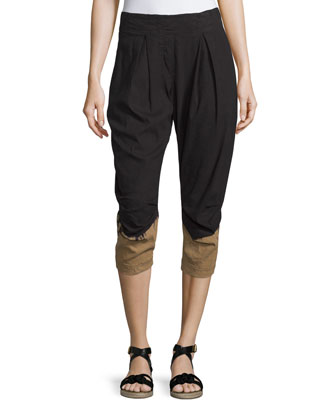 Pleated-Front Two-Tone Capri Pants, Black/Paper Bag