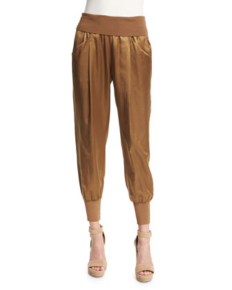 Pleated-Front Jogger Pants, Paper Bag