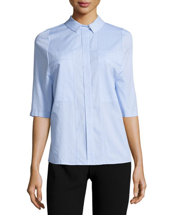 Half-Sleeve Collared Top, Chambray