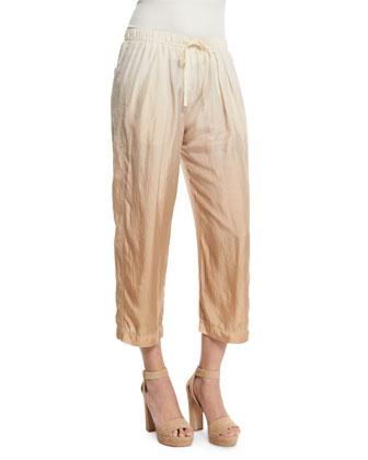 Dip-Dye Wide-Leg Cropped Pants, Paper Bag/Parchment