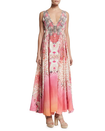 Sleeveless Embellished Drawstring Dress, Sea Serpent
