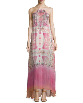 Sleeveless Embellished Maxi Dress, Sea Serpent