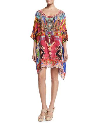 Half-Sleeve Embellished Short Caftan Dress, Freedom of Play