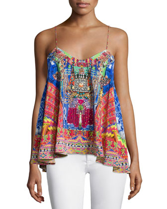 Sleeveless Embellished Flowy Top, Freedom of Play
