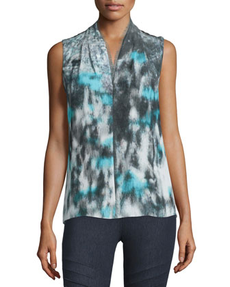 Judith Garden Haze Sleeveless Blouse, Calm Sea