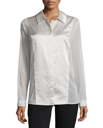 Long-Sleeve Button-Front Tunic, Chalk