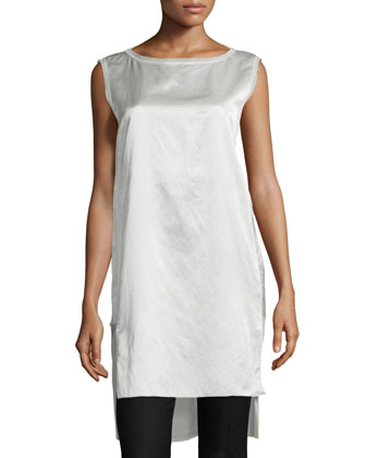 Sleeveless Split-Hem Tunic, Chalk
