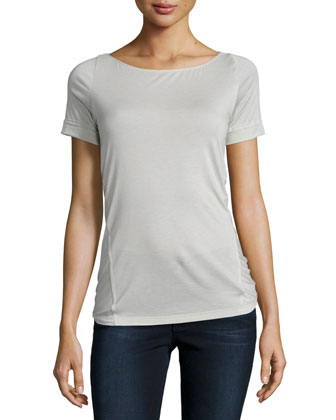 Short-Sleeve Draped-Back Top, Platinum