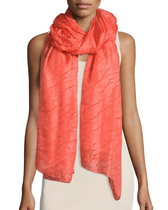 Crinkle-Chiffon Scarf, Red