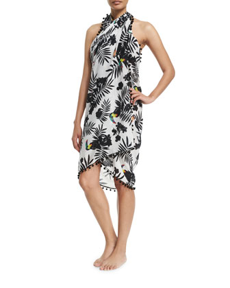 Tassel-Trim Printed Sarong Coverup