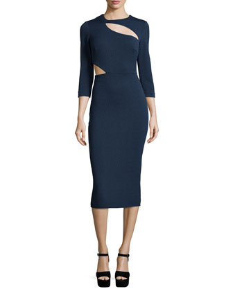 Virginia Sheath Dress W/Cutouts, French Navy