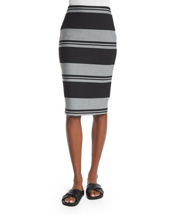 Aisling Striped Pencil Skirt, Black/White