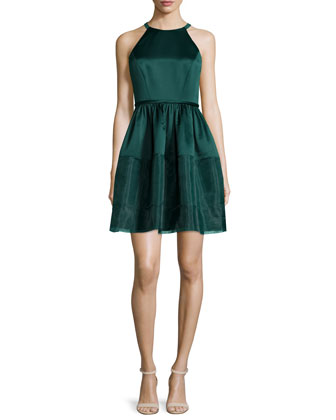 Jewel-Neck Fit-&-Flare Dress, Deep Jade