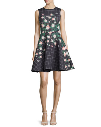 Sleeveless Mixed-Print Fit & Flare Dress