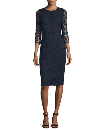 3/4-Sleeve Lace Sheath Dress