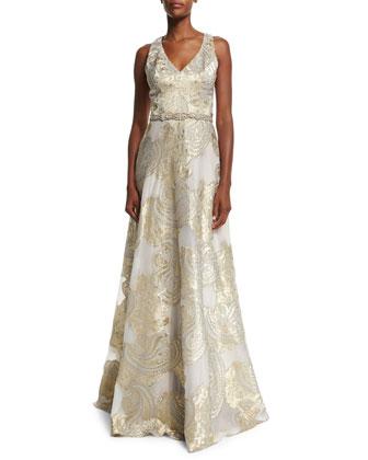Sleeveless V-Neck Beaded Belt Ball Gown