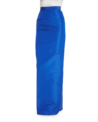 High-Waist Column Skirt, Cobalt