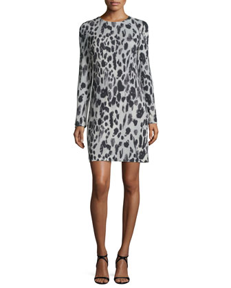 Long-Sleeve Animal-Print Jersey Dress