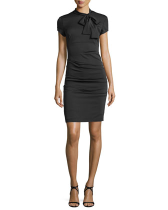 Short-Sleeve Bow-Detail Sheath Dress