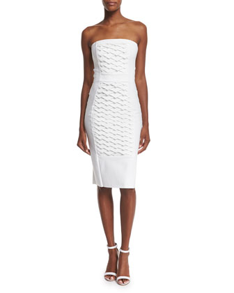 Strapless Fish Scale Textured Sheath Dress, White