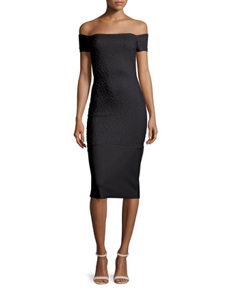 Off-the-Shoulder Textured Sheath Dress