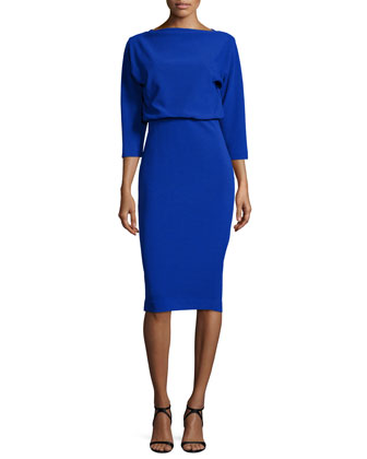 3/4-Sleeve Knit Blouson Dress, Blue