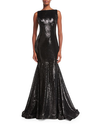Sleeveless Bateau-Neck Sequined Mermaid Gown, Black