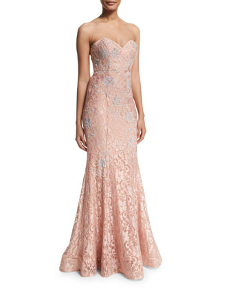 Strapless Lace Mermaid Gown