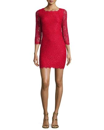 Zarita Lace Sheath Dress, Red