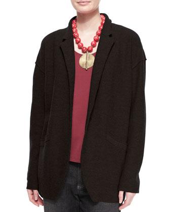 Lightweight Boiled Wool Jacket, Black