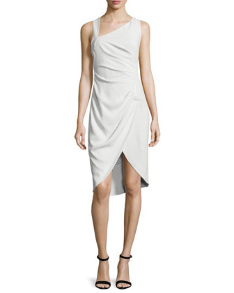 Sleeveless Tulip-Hem Sheath Dress, Dark Bone