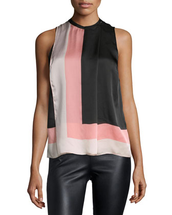 Sleeveless Colorblock Top, Powder