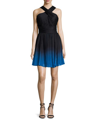 Crisscross-Neck Ombre Party Dress, Black/Cobalt