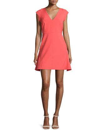 Cap-Sleeve Fit-&-Flare Dress, Melon