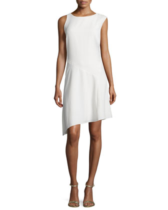 Round-Neck Angled-Hem Dress, Bone