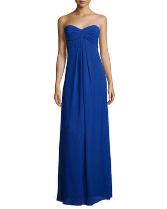 Sweetheart-Neck Strapless Gown, Blueberry