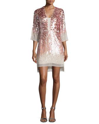 Half-Sleeve Embellished Sheath Dress, Sorbet