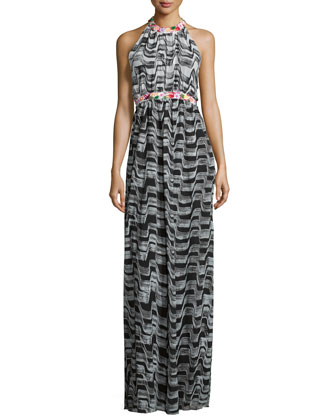 Halter-Neck Hand-Painted Mosaic Gown, Black/Multi
