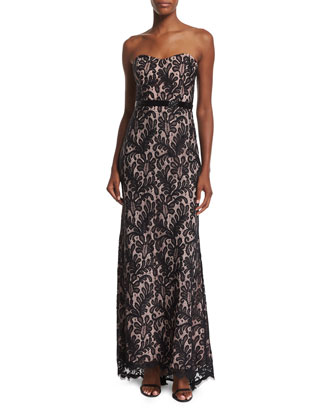 Strapless Sweetheart-Neck Lace Gown, Black/Blush