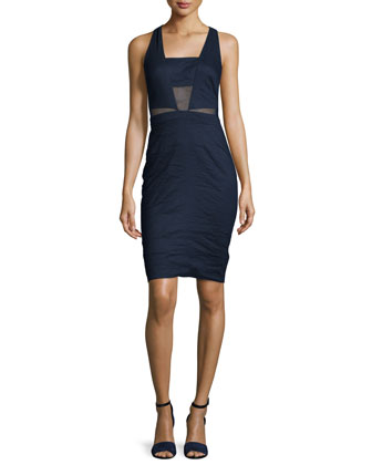 Sleeveless Square-Neck Sheath Dress, Navy