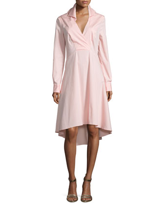 Long-Sleeve V-Neck Shirtdress, Sorbet
