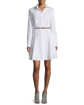 Long-Sleeve Belted Structured Shirtdress, White