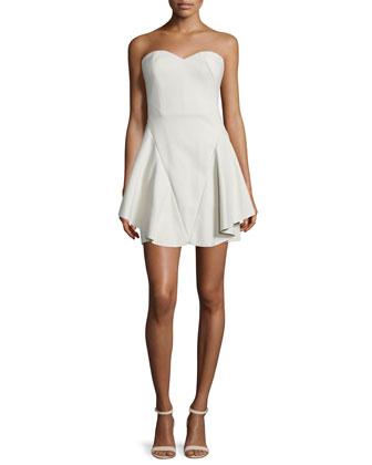 Strapless Fit-&-Flare Dress, Dark Bone
