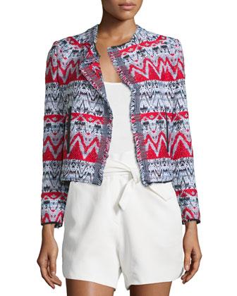 Kroe Tweed Chevron Jacket, Black/Red