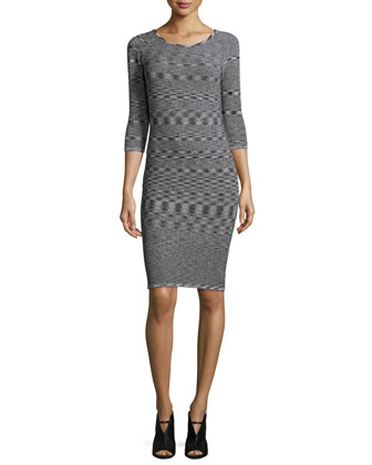 3/4-Sleeve Round-Neck Dress, Black/White