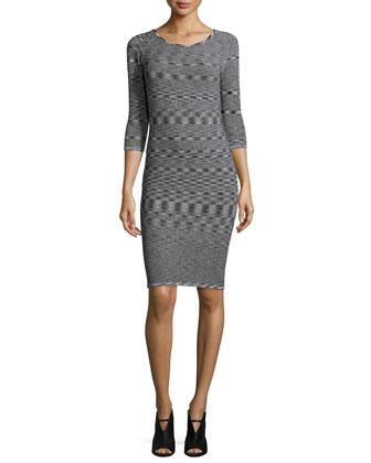 3/4-Sleeve Round-Neck Dress, Black/White