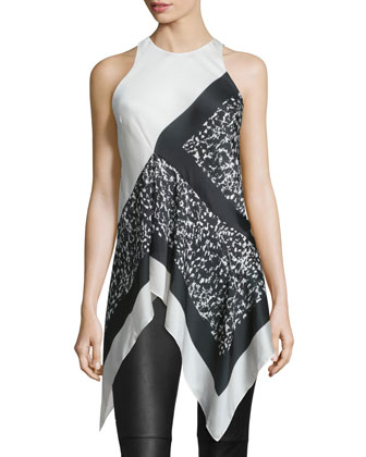 Sleeveless Two-Tone Handkerchief-Hem Top, Black Batik