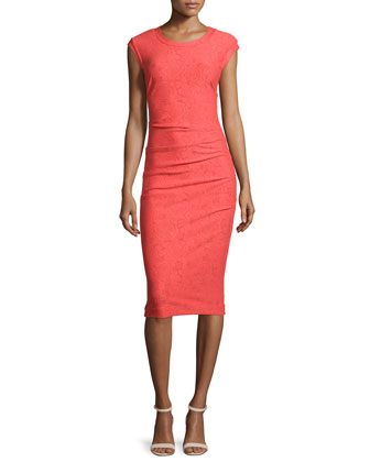 Cap-Sleeve Floral-Embossed Dress, Hot Coral