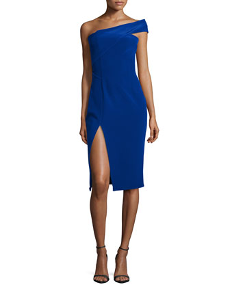 One-Shoulder Fitted Dress, Lapis