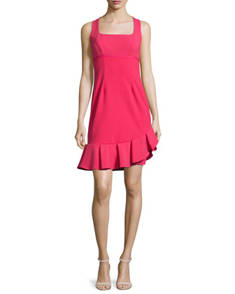 Sleeveless Pleated-Hem Dress, Watermelon